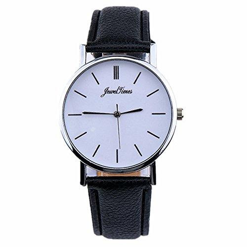 JewelTimes Unisex elegant minimal Ziffernblatt Lederband silber 3029 schwarz