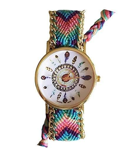 Damen Armbanduhr Stoffarmband Goldkettchen Indianer Feder Vintage Hipster Analog Quarz gold blau