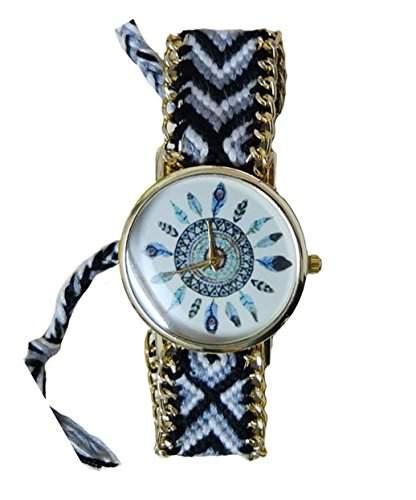 Damen Armbanduhr Stoffarmband Goldkettchen Indianer Feder Vintage Hipster Analog Quarz gold schwarz