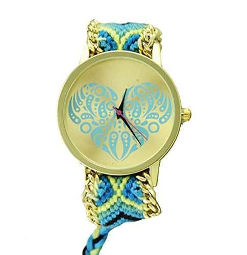 Damen Armbanduhr Stoffarmband Goldkettchen Herz Muster Mandala Liebe Love Analog Quarz gold blau