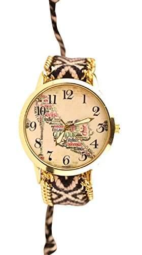 Damen Armbanduhr Trenduhr chic glamour stylish Ethno Blogger Hipster Vintage Stoff Analog Quarz gold  schwarz lw011