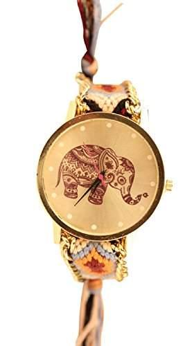 Damen Armbanduhr Trenduhr Elefant Ethno Blogger Hipster Vintage Stoff Analog Quarz gold  braun lw012