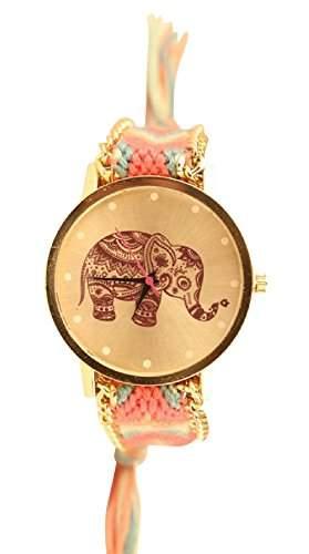 Damen Armbanduhr Trenduhr Elefant Ethno Blogger Hipster Vintage Stoff Analog Quarz gold  pink lw012