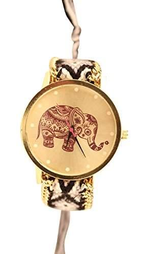 Damen Armbanduhr Trenduhr Elefant Ethno Blogger Hipster Vintage Stoff Analog Quarz gold  schwarz lw012
