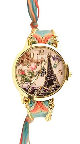Damen Armbanduhr Trenduhr Eiffeltrum Paris Oldtimer Ethno Blogger Hipster Vintage Stoff Analog Quarz gold  blau lw013