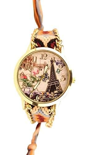 Damen Armbanduhr Trenduhr Eiffeltrum Paris Oldtimer Ethno Blogger Hipster Vintage Stoff Analog Quarz gold  braun lw013