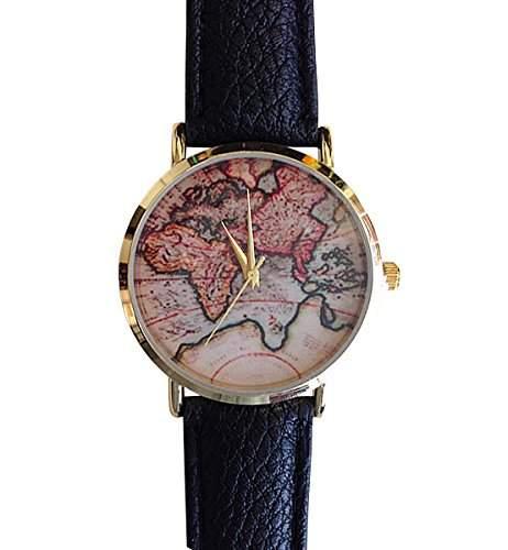 Damen Armbanduhr Weltkarte Europa Afrika Russland Deutschland EU Analog Quarz gold  bunt  schwarz lw1457