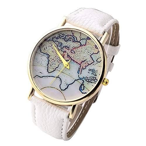 Damen Armbanduhr Weltkarte Europa Afrika Russland Deutschland EU Analog Quarz gold  bunt  weiss lw1457