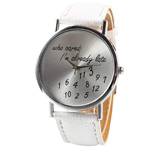 Unisex Armbanduhr Fun Trend Uhr who cares i´m already late lustig abstrakt Analog Quarz silber  weiss lw1493