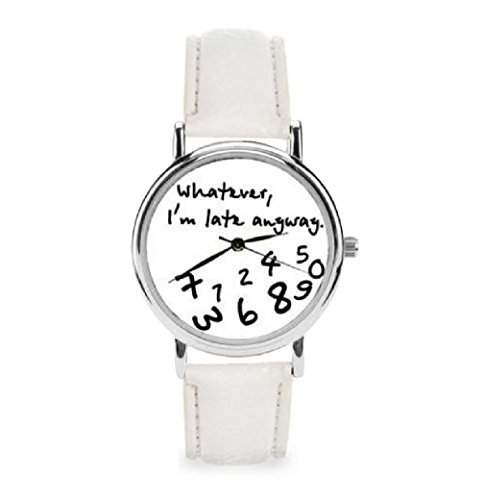 Unisex Amrbanduhr Funuhr Trenduhr Whatever i´m late anyway abstrakt Analog Quarz silber schwarz  weiss lw155
