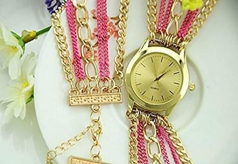 Damen Armbanduhr Wickelarmband Goldkette Universalgroesse Analog Quarz gold  pink lw432