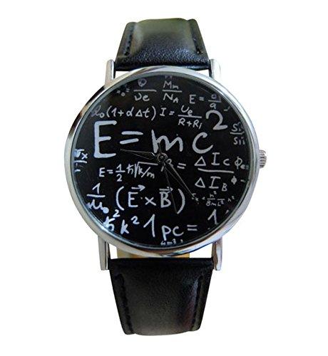 Unisex Armbanduhr Albert Einstein Formel E mc Relativitaetstheorie Mathe Physik silber weiss