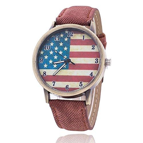 Unisex Armbanduhr Quarz Amerika Ziffern Alt gold Jeansband braun