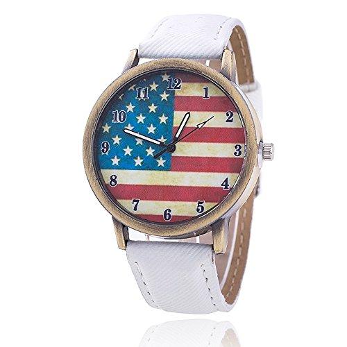 Unisex Armbanduhr Quarz Amerika Ziffern Alt gold Jeansband weiss