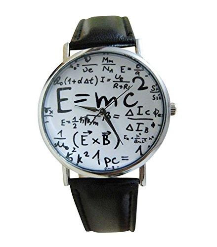 Unisex Armbanduhr Albert Einstein Formel E mc Relativitaetstheorie Mathe Physik silber schwarz weiss