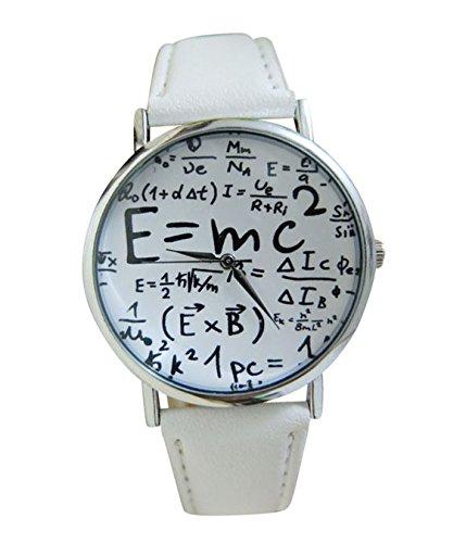 Unisex Armbanduhr Albert Einstein Formel E mc Relativitaetstheorie Mathe Physik silber schwarz
