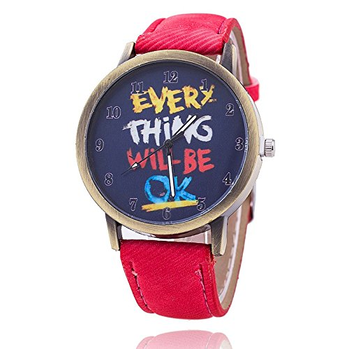 Unisex Armbanduhr Everything will be ok ziffern alt gold jeansband rot
