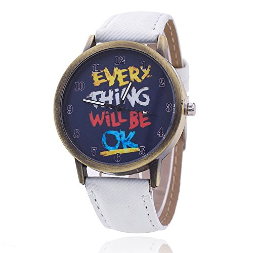 Unisex Armbanduhr Everything will be ok ziffern alt gold jeansband weiss