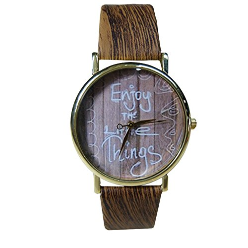 Unisex Armbanduhr Enjoy the little things Holz Muster Optik Analog Quarz gold braun