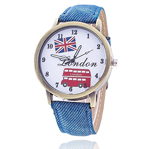 Unisex Armbanduhr Quarz London Bus Ziffern Alt gold Jeansband blau