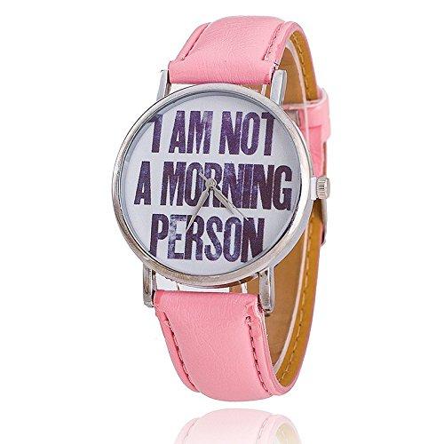 Unisex Armbanduhr Quarz text morning person Lederband pink silber