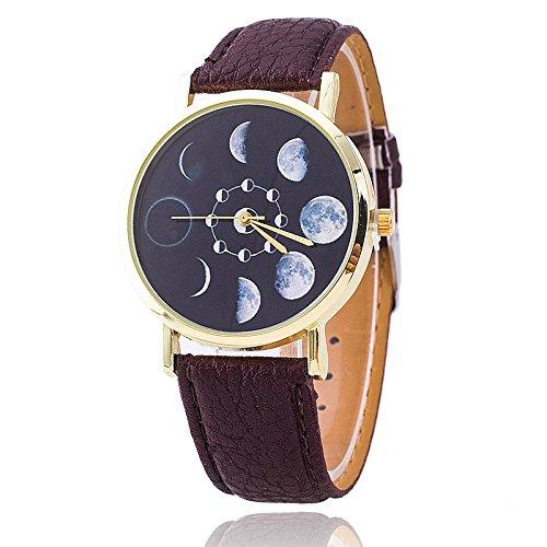 Unisex Armbanduhr Quarz Mondphasen gold Lederband braun