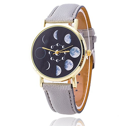 Unisex Armbanduhr Quarz Mondphasen gold Lederband grau