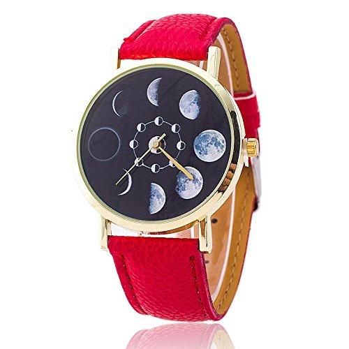Unisex Armbanduhr Quarz Mondphasen gold Lederband rot
