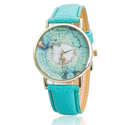 Unisex Armbanduhr Quarz Weltkarte Antarktis gold Leder band blau