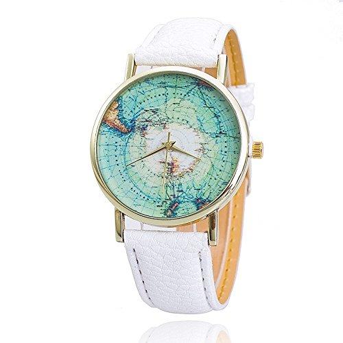 Unisex Armbanduhr Quarz Weltkarte Antarktis gold Leder band weiss