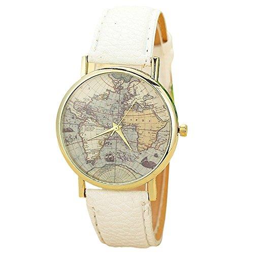 Unisex Armbanduhr Quarz Weltkarte gold Lederband weiss