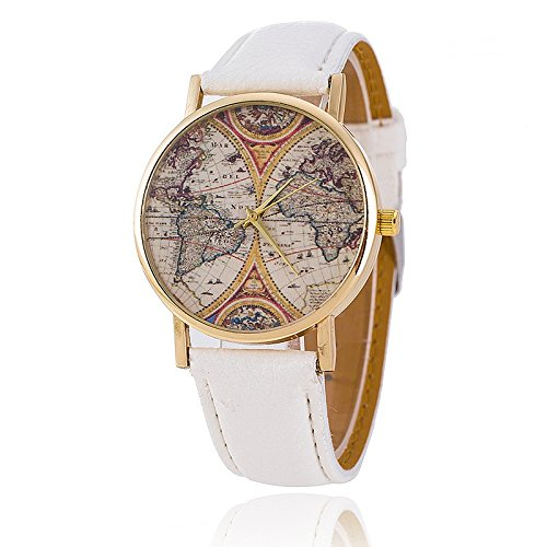 Unisex Armbanduhr Quarz alt Weltkarte gold Lederband weiss
