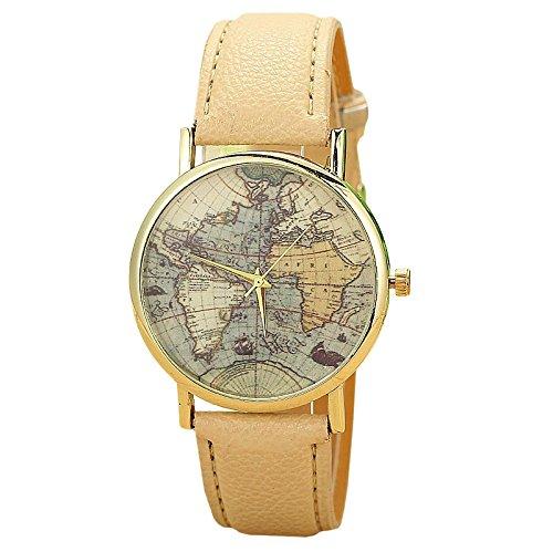 Unisex Armbanduhr Quarz Weltkarte gold Lederband beige