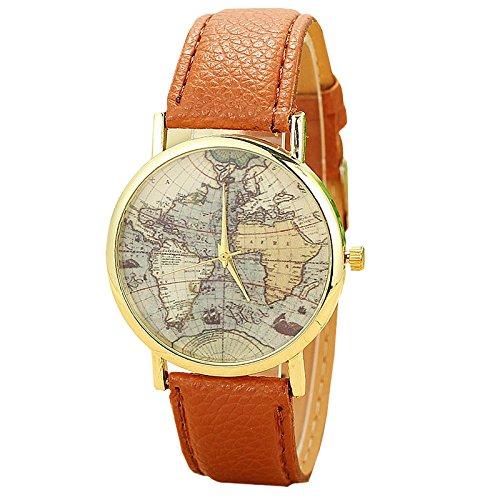 Unisex Armbanduhr Quarz Weltkarte gold Lederband braun