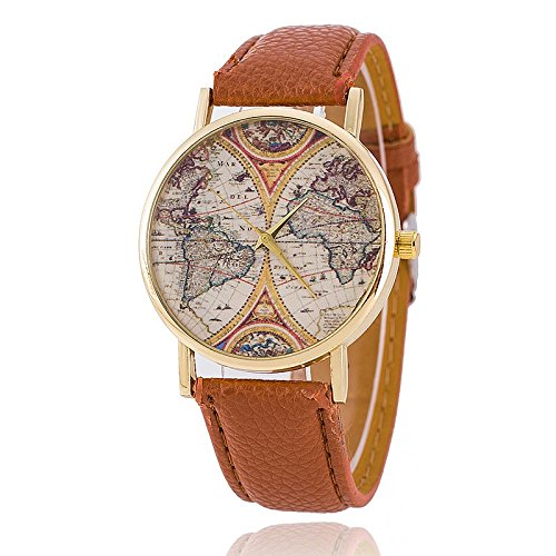 Unisex Armbanduhr Quarz alt Weltkarte gold Lederband braun