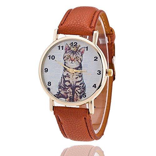 Unisex Armbanduhr Quarz Katze Ziffern gold Lederband braun