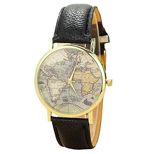 Unisex Armbanduhr Quarz Weltkarte gold Lederband schwarz