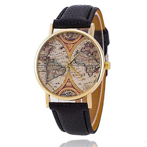 Unisex Armbanduhr Quarz alt Weltkarte gold Lederband schwarz
