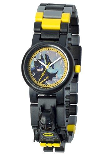 LEGO Batman Movie 8020837 Batman mit Minifigur und Gliederarmband zum Zusammenbauen schwarz gelb Kunststoff Gehaeusedurchmesser 28 mm analoge Quarzuhr Junge Maedchen offiziell