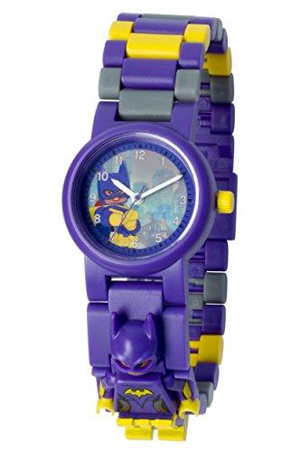 LEGO Batman Movie 8020844 Batgirl mit Minifigur und Gliederarmband zum Zusammenbauen violett gelb Kunststoff Gehaeusedurchmesser 28 mm analoge Quarzuhr Junge Maedchen offiziell