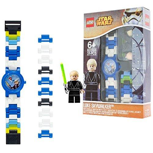 LEGO Star Wars 8020356 Luke Skywalker mit Minifigur und Gliederarmband zum Zusammenbauen blau weiss Kunststoff analoge Quarzuhr Junge Maedchen offiziell