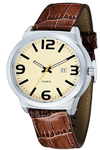 Braun Leder Armbanduhr Sport Luxus Band Quarz Handgelenk Casual Herren Fashion Analog