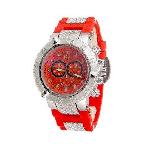 Rot Silber Herren Geneva Armbanduhr Oversize Fashion Luxus Designer Boyfriend Silikon Band Sport