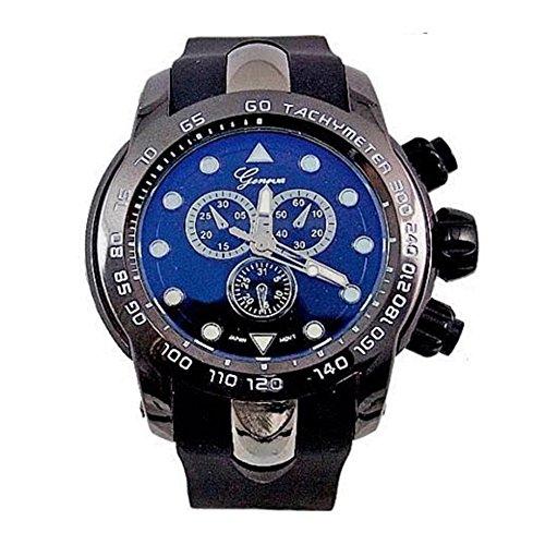 Schwarz Geneva Metall Oversized Boyfriend Designer Fashion Silikon Sport Chrono Handgelenk