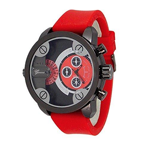 Rot Black Herren Genf UhrDoppelzeitModedesigner in UEber Wenig Papi