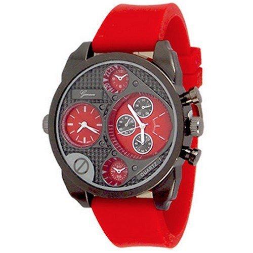 Doppelzeit Rot schwarze Gummi Mens Genf Uhr Modedesigner Silicone
