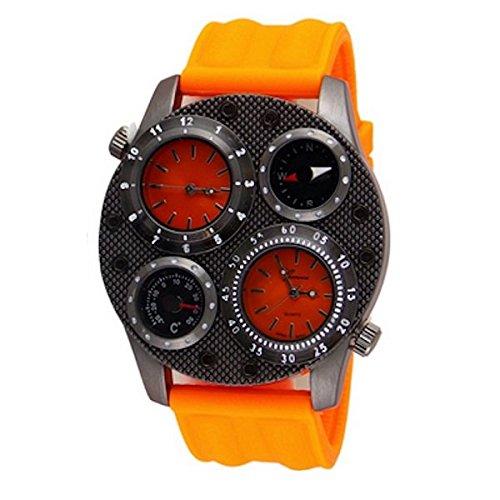 Doppelzeit Thermometer Kompass Mode in UEber Luxus orange Mens Genf Uhr