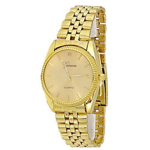 New Gold Watch Geneva Fashion Luxus Geschenk Herren Metall Band