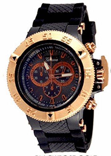 Black Herren Genf Uhr Entwerfer Maxi Boyfriend SiliconeBand Metall