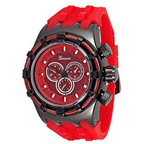 Rot Herren Genf Uhr Modedesigner Maxi Sport Silikon Kasten